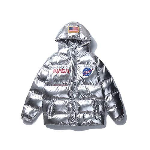 GLYIG Men's NASA Bordado Logo Vuelo Bomber Chaqueta Parches MA-1 Abrigo Vuelo Aplátelo Afloy Flojo Cálido Cálido A Los Amantes de Algodón Tienda Insignia Operado de Invierno