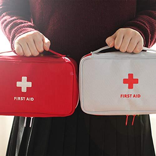 Longspeed Tragbare Haushalts-Medizintasche Mehrschichtige Leere Erste-Hilfe-Beuteltasche Outdoor-Autotasche Reise-Rettungstasche für den Notfall - Weiß