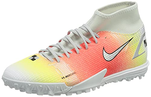 Nike Superfly 8 Academy MDS TF, Zapatillas de ftbol Unisex Adulto, White White BRT Mango Mtlc Silver, 42.5 EU