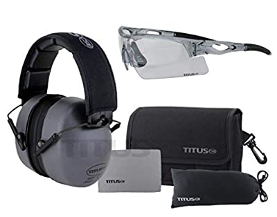 Titus 3 Series 37 NRR Noise Reduction Hearing Protection & G20 All-Sport Z87.1 Safety Glasses Combos (Gunmetal Grey, Grey Frame - Clear Lens)