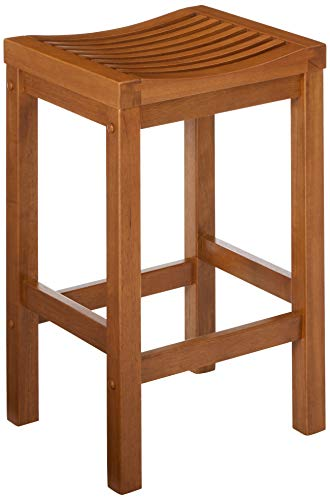 Home Styles Cottage Oak Finish 24-inche Bar Stool with Curved Seat and Hardwood Construction