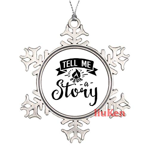 happygoluck1y Tell Me A Story – No White Lustige Sprüche Weihnachten Ornamente Zinn Andenken Ornamente Weihnachtsgeschenke für Kinder Mädchen Frauen Neue Paare