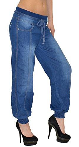 ESRA Damen Jeans Hose Haremshose Pumphose Aladinhose Jeanshose bis Übergrösse J133