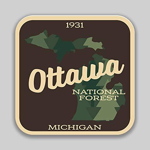 JMM Industries Ottawa National Forest Michigan calcomanía de Vinilo para Parachoques de Ventana de Auto, Paquete de 2, 4 Pulgadas, Laminado Protector UV PDS1441