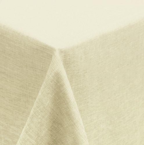 Unbekannt Tischdecke 160x160 cm eckig Struktur Leinen-Optik beschichtet Wasser und Schmutz abweisend Lotuseffekt #1177 (Ecru)