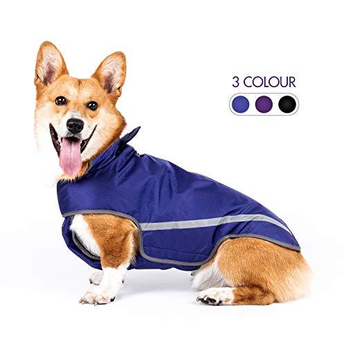 SENYE PET Dog Raincoat Lightweight Waterproof Clothes Ajustable Pet Dog Rain Jacket Poncho with Visibility Safety Strip Reflective & Leash Hole Dog Vest for Small Medium Large Dogs Puppy (S, Blue)