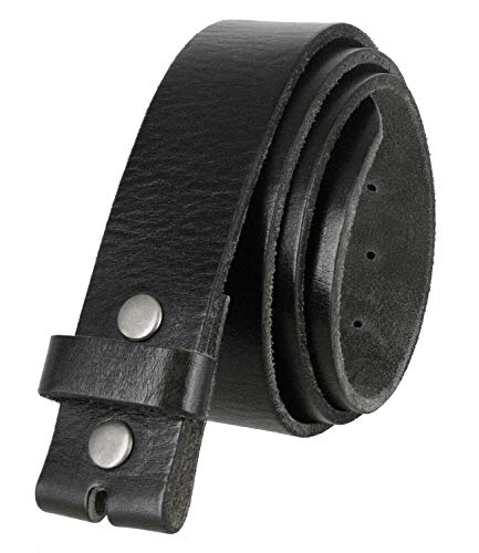 BS040 Men's Belt Genuine Full Grain Leather Replacement Belt Strap with Snaps on 1-1/2' wide (Black, 32)