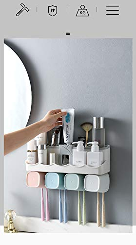 Sixco Soporte multifuncional para cepillo de dientes de baño, set de accesorios de baño, dispensador automático de pasta de dientes titular de almacenamiento de baño (4 taz