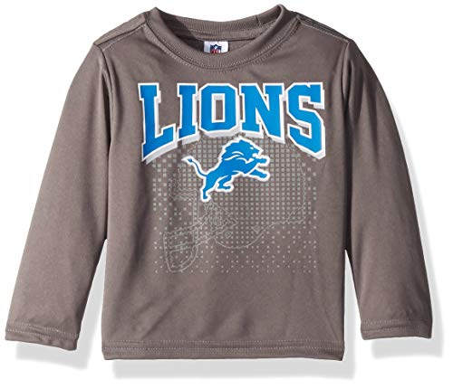 NFL Detroit Lions Unisex-Baby Long-Sleeve Tee, Gray, 12 Months