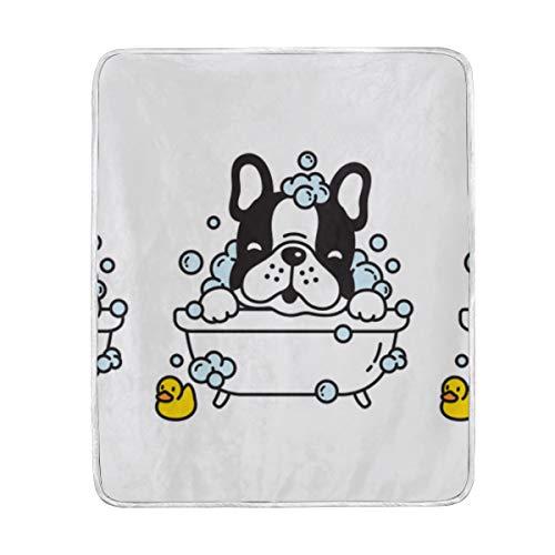"Throw Blanket Dog French Bulldog Bath Shower Soft Blanket Warm Plush Blanket for Sofa Chair Bed Office Gift Best Friend Women Men 50""x60"" Kids Throw Blanket"