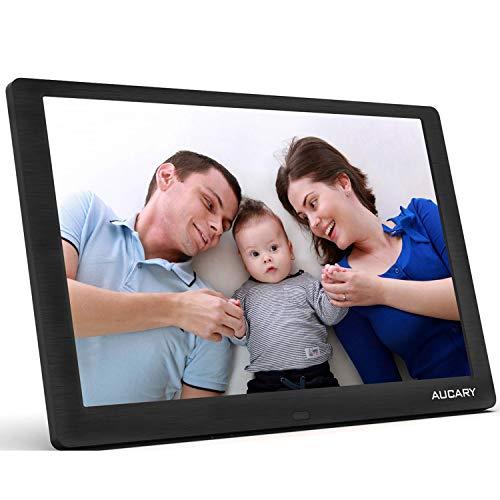 AUCARY Marco de Fotos Digital 10.1 Pulgadas LCD (1920 * 1080), Soporte para Reproductor de Video MP3/ MP4 Reloj/Electrónico Calendario, Automático Encendido/Apagado para Padres con Control Remoto