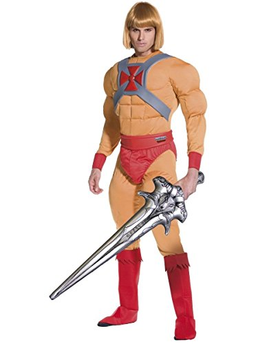 Mens He-Man with Inflatable Sword He Man Prince Adam 1980s Cartoon TV Stag Do Fancy Dress Costume Outfit (Medium) Beige
