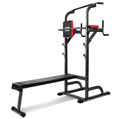 Pull Up Bar Foldable,Multifunktion, Stand Pull up Station mit freistehender Klimmzugstange Trainingsbar Fitnessstation, Dips Station, abnehmbar + Beutel