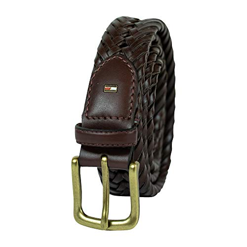 Tommy Hilfiger Leather Braided Belt – Casual for Mens Jeans with Solid Strap Single Prong Buckle