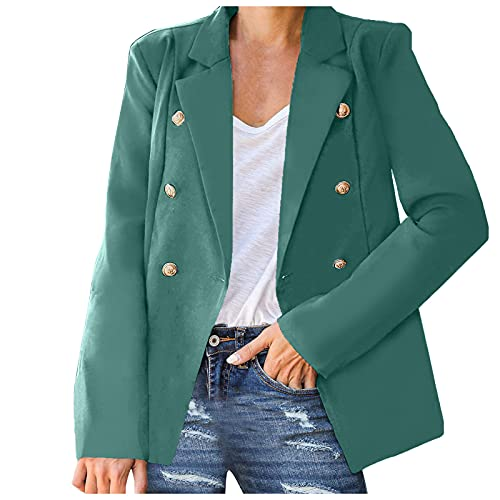 Women's Business Double Breasted Open Front Blazer Cardigan Casual Long Sleeves Work Office Jackets