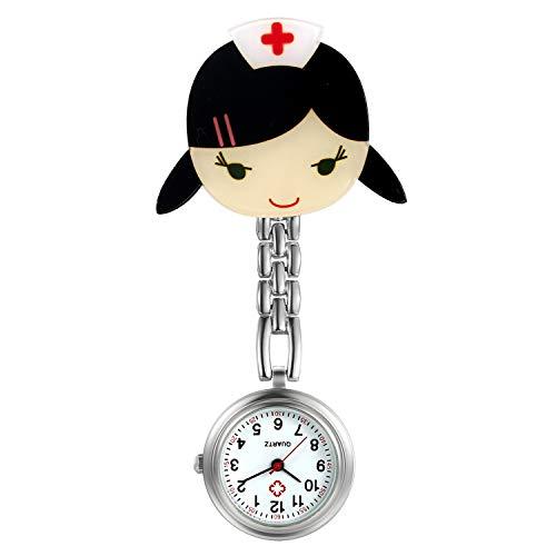 LANCARDO Uhren, Krankenschwester Armbanduhr FOB-Uhr Damen Taschenuhr Analog Quarzuhr aus Legierung Silber