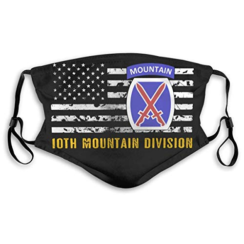 10th Mountain Division Flag Outdoor Face Mask Mouth Cover,Protective 5-Layer Activated Carbon Filters Adult Men Women Bandana-Black- with 2pcs Filters made in USA