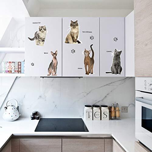 Adhesivo decorativo para pared con diseño de gato en 3D, 50 x 70 cm