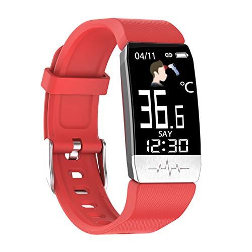 YNLRY Reloj inteligente con temperatura corporal ECG, monitor de ritmo cardíaco, control de música, banda deportiva, reloj inteligente para iOS Android (color: rojo)