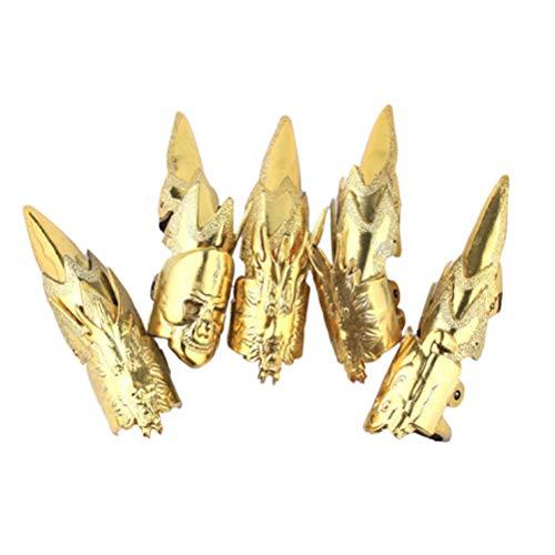 Amosfun 15-teiliges künstliche Nägel Ring-Set Retro Golden Nail Wrap Halloween Kostüm Krallen Falsche Lange Nägel für Cosplay Party