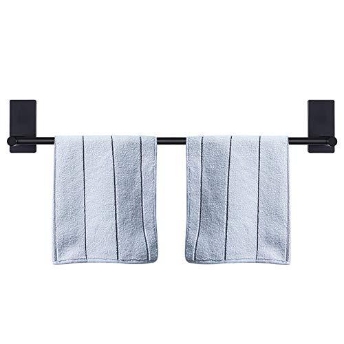 Barra de toalla de baño autoadhesiva, de acero inoxidable, estante de pared para baño, barra de toalla para colgar en la percha pegajosa, estilo contemporáneo, sin taladrar (negro mate, 27 pulgadas)