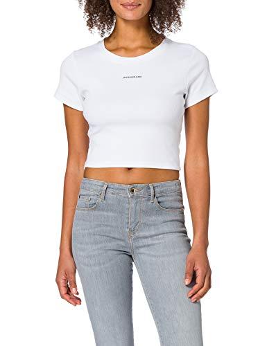 Calvin Klein Jeans Micro Branding Crop Rib Top Camiseta, Blanco Brillante, XL para Mujer