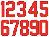 8 Inch Heat Transfer Numbers Kit 0 to 9 for Sports Jerseys T-Shirt Iron on Numbers for Jersey Football Baseball (red)