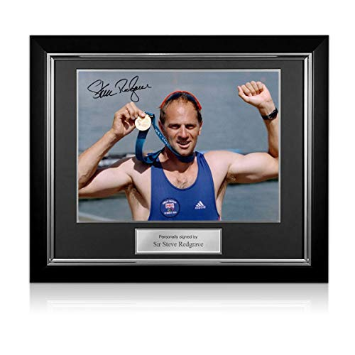 exclusivememorabilia.com Foto firmada por Steve Redgrave: Medalla de Oro de Sydney. Marco de Lujo
