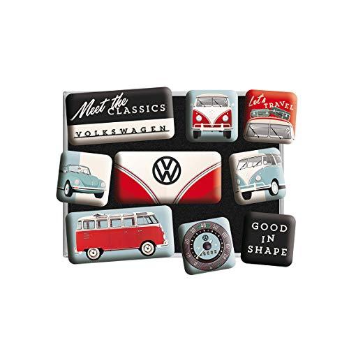 Nostalgic-Art Geschenk-Idee für VW-Fans, Magnetset für Magnettafel, Volkswagen - Bulli & Beetle - Meet The Classics, 9 Stück