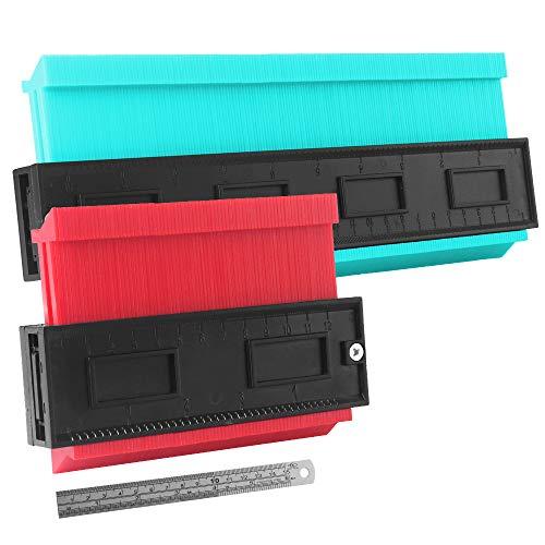 2 Stücke Konturenlehre, Konturenlehre Profillehre Konturmessgerät zum Übertragen von Konturen und Schnittverläufen, Gut für Fliesen, Laminat und Holzbearbeitung(10inch&5inch) (Blau&Rot)