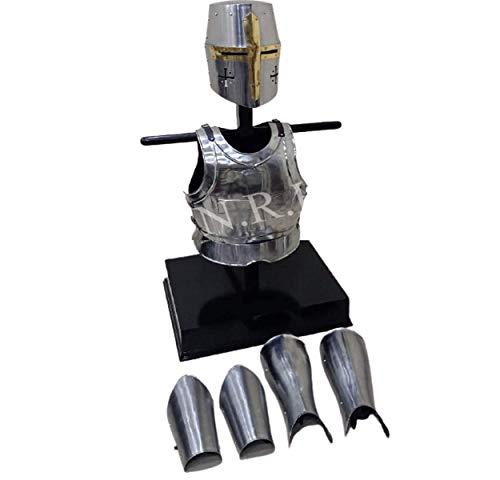 Nautical Replica Hub Casco Templario Medieval de Caballero Cruzado, armadura de brazo y pierna, chaqueta de pecho