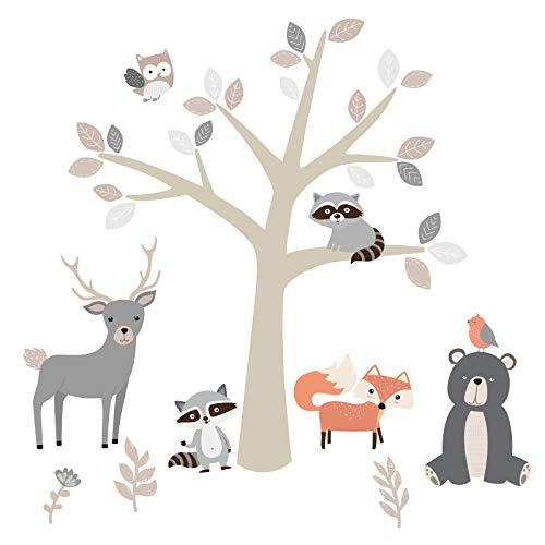 Little Deco Wandsticker Waldtiere Zoo I Wandbild 89 x 54 cm (BxH) beige I Fuchs Hirsch Eule Wandtattoo Kinderzimmer Aufkleber Skandinavische Babyzimmer Deko DL524