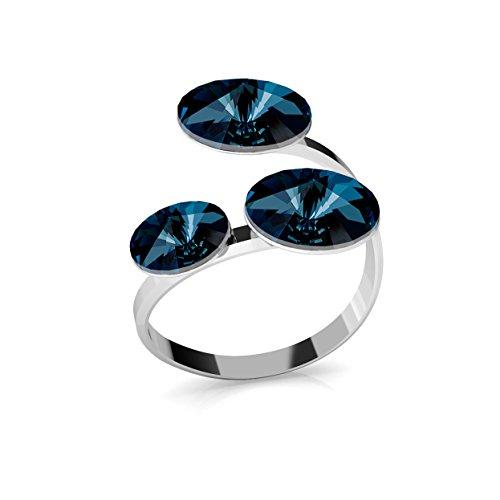 Crystals & Stones Ring *RIVOLI* Dreifach Kristall *Viele Farben* - 925 Silber Ring - Sterling Silber Damen Ring Größe verstellbar PIN/75 (Montana)