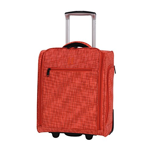 it luggage 17.1' Stitched Squares 2 Wheel Lightweight Underseat Tote, Orange