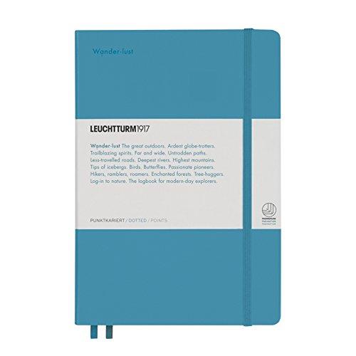 """LEUCHTTURM1917 358164 Notizbuch Medium (A5) Leuchtkraft, Hardcover, 251 Seiten, dotted, Nordic Blue """"Wanderlust"""""""