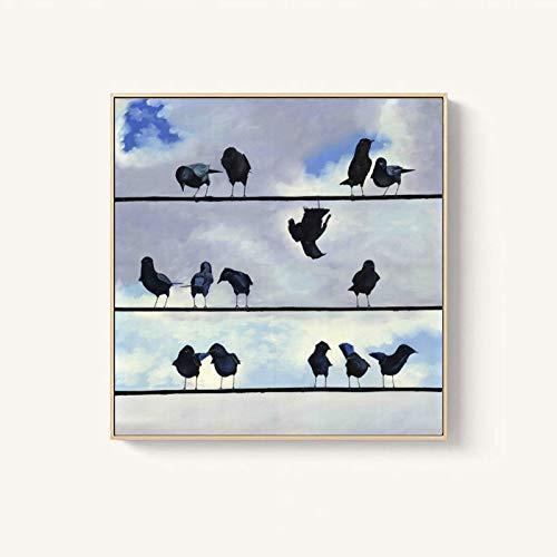 Abstraktes Vogelplakat auf Linie und Ölgemälde der abstrakten Kunst auf Leinwand für nordische Wohnzimmerdekoration,Rahmenlose Malerei,45x45cm