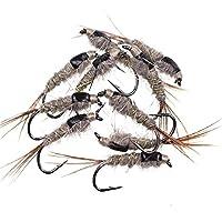 餌、5-30 個 Fast Sinking Black Back Rabbit Ear Wire Tungsten Bead Head Nymph Flies Trout Fly Fishing Lures #10 (色: 30 個) (Color : 20pcs)