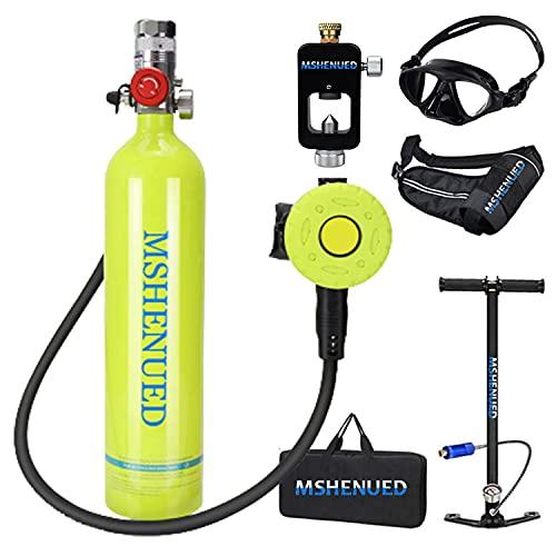 XSGDMN Botellas de Buceo Equipo de Buceo, Packs de Snorkel Mini Botella de Buceo de 1 litro con Capacidad de 10-20 Minutos, Resistente a la presión y a la corrosión con diseño Recargable con Bomba