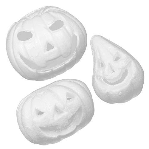 EXCEART 3 Stück Halloween Herbst Ernte Künstliche Weiße Schaum Kürbisse Herbst Thanksgiving Halloween Kürbisse Dekorationen
