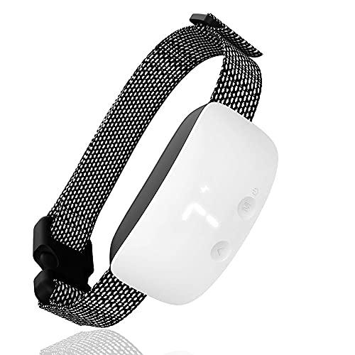 Collar Antiladridos Recargable para Perros Pequeños Medianos y Grandes Pantalla Digital LED 1-7 Intensidad Adiestramiento Sonidos y Vibraciones Audibles Chip Avanzado (Color : White)