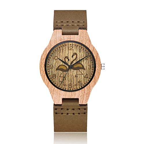 Relojes para Hombre de Madera Natural Reloj Simple para Mujer Relojes de Pulsera de Madera de bambú Reloj Correa de Cuero TYPE2
