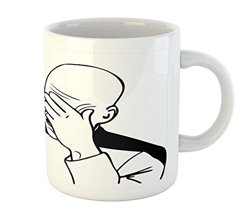 Ambesonne Humor Mug, Captain Picard Face Palm Troll Guy Meme Caption Super Fun Online Illustration, Ceramic Coffee Mug Cup for Water Tea Drinks, 11 oz, White Black