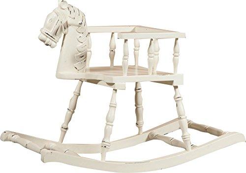 Biscottini Cavallo a Dondolo in Legno massello di Mogano Finitura Bianca Anticata 75x30x50 cm
