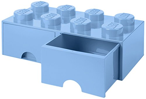 LEGO 4006 Brick 8 knoppen, 2 laden, stapelbaar opbergdoos, 9,4 l, lichtblauw, plastic, Legion/Light Royal Blue, 50 x 25 x 18 cm