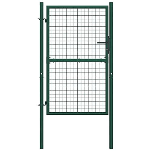 vidaXL Puerta de Valla Acero Verde 100x150 cm Cancela de Jardín Patio Exterior