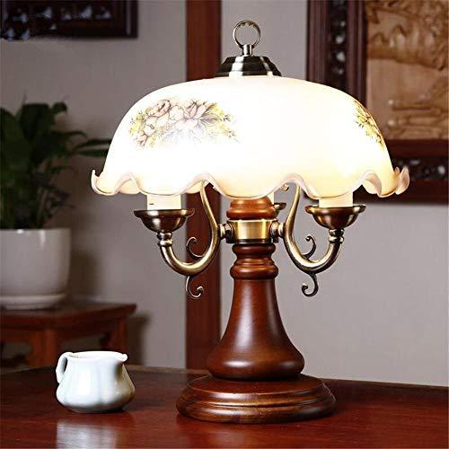Tafellamp Retro bureaulamp Klassieke bankierslamp Camellia glazen kap hout Drie koppen dimmen Leesstudie bedlampje voor Leuk cadeau kantoor aan huis decoraties