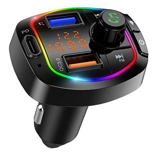 Transmisor FM Bluetooth 5.0 para el coche, QC3.0+Tipo C PD 18W Adaptador inalámbrico de radio para el coche con Bluetooth, 6 RGB retroiluminados Kit de coche Bluetooth con llamada a manos libres, 3 puertos USB Soporte para reproductor de música Tarjeta TF Unidad USB