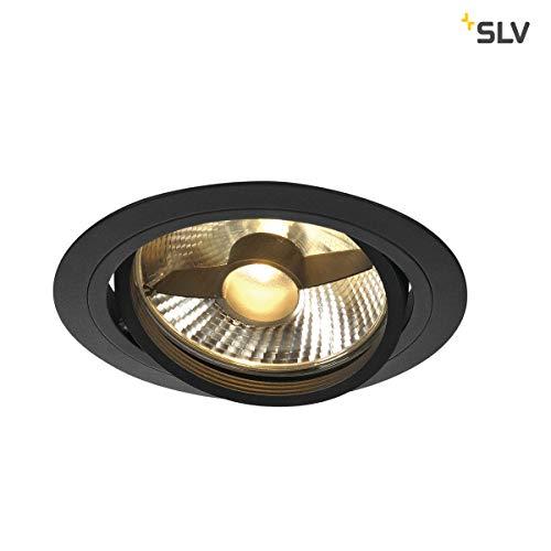SLV LED Deckeneinbaustrahler NEW TRIA 150 I rund, single, QPAR 111, GU10, LS, Blattfeder, matt schwarz, Einbauleuchte, Deckenstrahler, dreh- und schwenkbare Deckeneinbauleuchte, Indoor