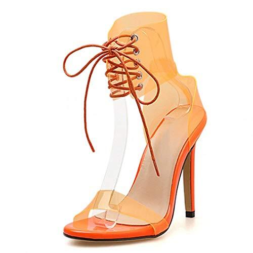 Tacones Abiertos De Punta Abierta para Mujer Tacones De Aguja De Fondo Transparente De Cristal Transparente Colores De Caramelo Correa De Tobillo Zapatos De Fiesta Sandalias De Boca De Pescado