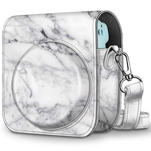 CaseBot Tasche für Fujifilm Instax Mini 11 Sofortbildkamera - Premium Kunstleder Schutzhülle Reise Kameratasche Hülle Abdeckung mit abnehmbaren Riemen, Marmor Weiß